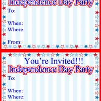 Printable Stars and Stripes Independence Day Party - Printable Party Invitation Cards - Free Printable Invitations