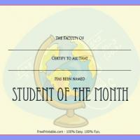 Printable Student Award With Globe Design - Printable Awards - Misc Printables