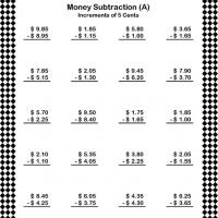 Printable Subtract Money in Increments of 5 Cents - Printable Classroom Lessons - Free Printable Lessons