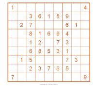 Printable Sudoku For Kids In Orange Box - Printable Sudoku - Free Printable Games