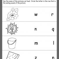 Printable Summer Theme Ending Consonants Review - Printable Kindergarten Worksheets and Lessons - Free Printable Worksheets