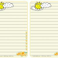 Printable Sun and Clouds Stationary - Printable Stationary - Free Printable Activities