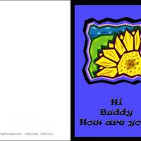 Printable Sunflower Hi Buddy Card - Printable Greeting Cards - Free Printable Cards