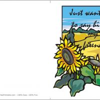 Printable Sunflower Just Saying Hi Card - Printable Greeting Cards - Free Printable Cards