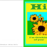Printable Sunflower Thinking Of You Card - Printable Greeting Cards - Free Printable Cards