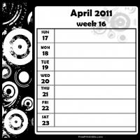 Printable Swirls 2011 Week 16 -  Calendar - Printable Weekly Calendar - Free Printable Calendars