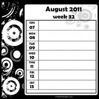 Printable Swirls 2011 Week 32 -  Calendar - Printable Weekly Calendar - Free Printable Calendars