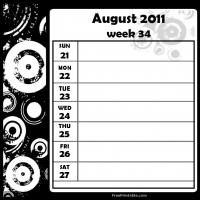 Printable Swirls 2011 Week 34 -  Calendar - Printable Weekly Calendar - Free Printable Calendars