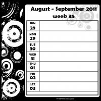 Printable Swirls 2011 Week 35 -  Calendar - Printable Weekly Calendar - Free Printable Calendars