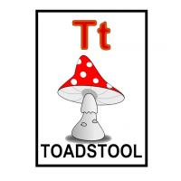 T is for Toadstool Flash Card