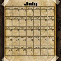 Printable Taped Parchment July 2013 - Printable Monthly Calendars - Free Printable Calendars