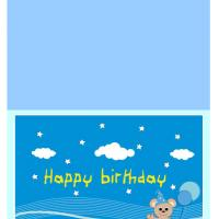 Printable Teddy with Blue Balloons Birthday Card - Printable Birthday Cards - Free Printable Cards