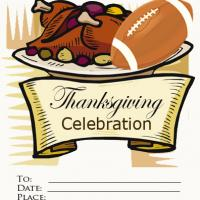 Printable Thanksgiving Football Party Invitation - Printable Party Invitation Cards - Free Printable Invitations