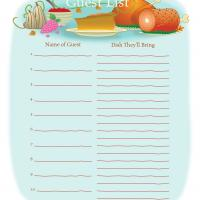 Printable Thanksgiving Guest List - Printable Chore Charts - Free Printable Activities
