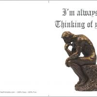 Printable Thinking Statue - Printable Greeting Cards - Free Printable Cards