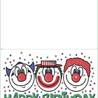 Printable Three Clowns - Printable Birthday Cards - Free Printable Cards