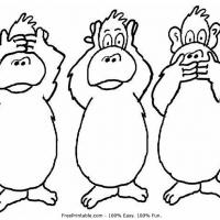 Printable Three Monkeys - Printable Coloring Sheets - Free Printable Coloring Pages