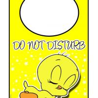 Printable Tweety is Sleeping Door Hanger - Printable Fun - Free Printable Activities