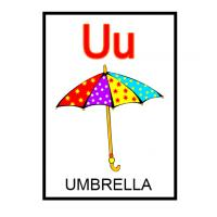 U is for Umbrella Flash Card