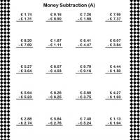 Under Ten Euro Subtraction Worksheet