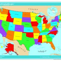 US Map- States in Bright Color