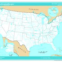 Printable US Map- Unlabeled Rivers and Lakes - Printable Maps - Misc Printables