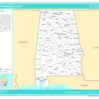US Map- Alabama Counties with Selected Cities and Towns