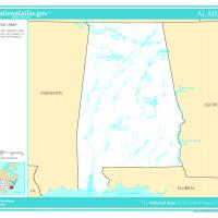 US Map- Alabama Rivers and Lakes