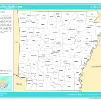 US Map- Arkansas Counties  with Selected Cities and Towns