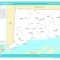 US Map- Connecticut Counties with Selected Cities and Towns