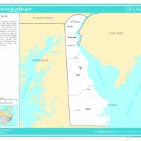 Printable US Map- Delaware Counties with Selected Cities and Towns - Printable Maps - Misc Printables