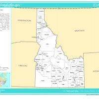 US Map- Idaho Counties with Selected Cities and Towns