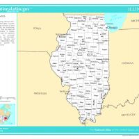 US Map- Illinois Counties with Selected Cities and Towns