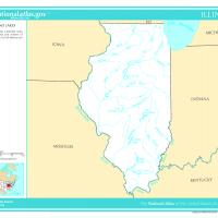US Map- Illinois Rivers and Streams