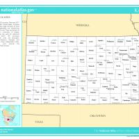 US Map- Kansas Counties with Selected Cities and Towns