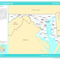 US Map- Maryland Counties with Selected Cities and Towns