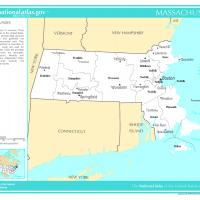 US Map- Massachusettes Counties with Selected Cities and Towns