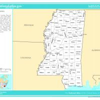 US Map- Mississippi Counties with Selected Cities and Towns