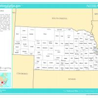 US Map- Nebraska Counties with Selected Cities and Towns