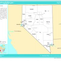 US Map- Nevada Counties with Selected Cities and Towns