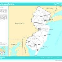 US Map- New Jersey Counties with Selected Cities and Towns