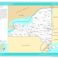 US Map- New York Counties with Selected Cities and Towns