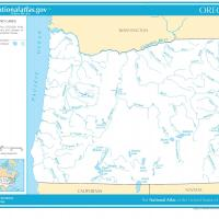 US Map- Oregon Rivers and Streams