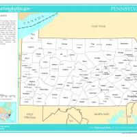 US Map- Pennsylvania Counties with Selected Cities and Towns