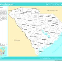 US Map- South Carolina Counties with Selected Cities and Towns