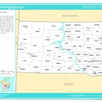 US Map- South Dakota Counties with Selected Cities and Towns