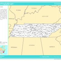 US Map- Tennessee Counties with Selected Cities and Towns