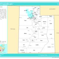 US Map- Utah Counties with Selected Cities and Towns