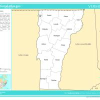 US Map- Vermont Counties