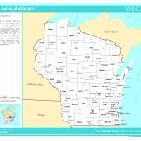 US Map- Wisconsin Counties with Selected Cities and Towns